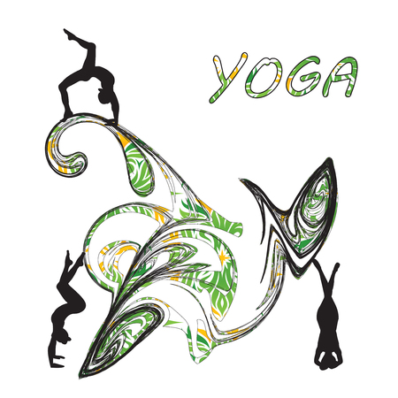 Silhouette young woman practicing yoga Girl pilates Vector on abstract background icon Illustration