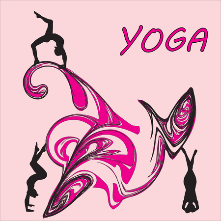 Silhouette young woman practicing yoga vector on abstract background icon. Illustration