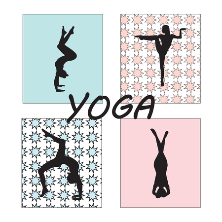 Silhouette young woman practicing yoga. Girl pilates. Vector on abstract background icon. Illustration