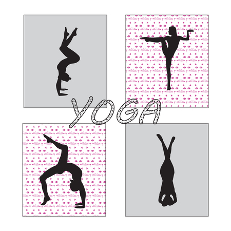Silhouette young woman practicing yoga. Girl pilates. Vector on abstract background icon Zdjęcie Seryjne - 98179771
