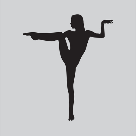 Silhouette young woman practicing yoga. Girl pilates. Vector on abstract background icon. Ilustracja