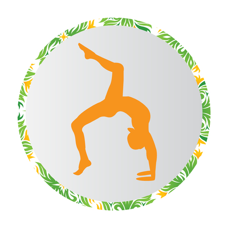Silhouette young woman practicing yoga. Girl pilates. Vector on abstract background icon Foto de archivo - 100056135