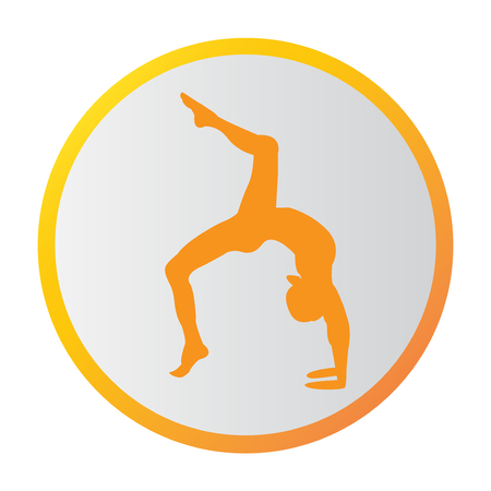 Silhouette young woman practicing yoga. Girl pilates. Vector on abstract background icon Foto de archivo - 99663083