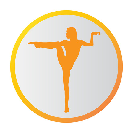 Silhouette young woman practicing yoga. Girl pilates. Vector on abstract background icon Foto de archivo - 99234509