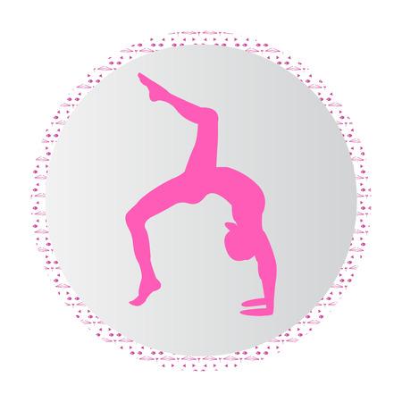 Silueta joven mujer practicando yoga en rosa Foto de archivo - 100029204