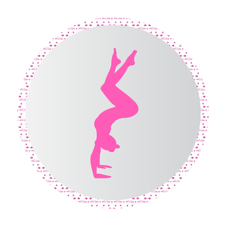 Silhouette young woman practicing yoga. Girl pilates. Vector on abstract background icon Zdjęcie Seryjne - 100147926