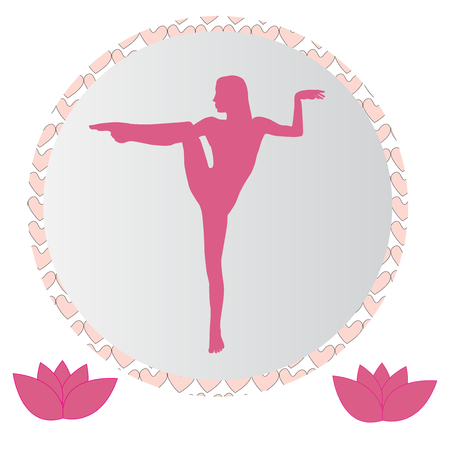 Silhouette young woman practicing yoga. Girl pilates. Vector on abstract background icon Foto de archivo - 100089104