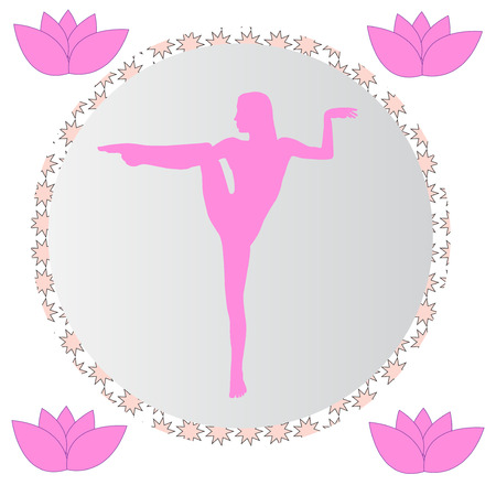 Silhouette young woman practicing yoga. Girl pilates. Vector on abstract background icon Foto de archivo - 99536076