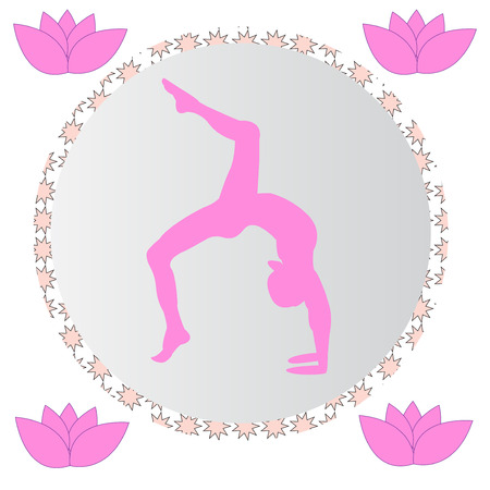 Silhouette young woman practicing yoga. Girl pilates. Vector on abstract background icon Foto de archivo - 99502256