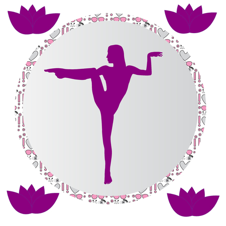 Silhouette young woman practicing yoga. Girl pilates. Vector on abstract background icon Zdjęcie Seryjne - 99234512