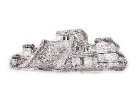 Hand drawn sketch of The ancient Pyramid of Kukulcan, or El Castillo, in Chichen Itza, Mexico. Illustration. Isolated on white background.