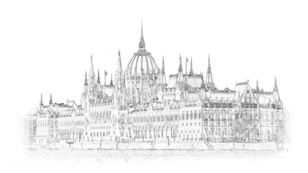 Hand drawn Hungarian parliament in Budapest. Illustration. Isolated on white background. Stockfoto - 100129373