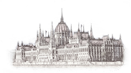 Hand drawn Hungarian parliament in Budapest. Illustration. Isolated on white background.