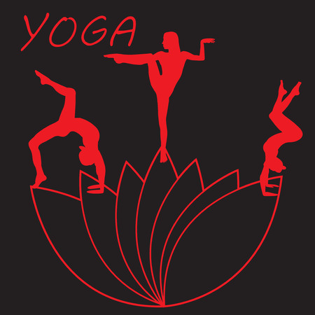 Silhouette young woman practicing yoga. Ilustracja
