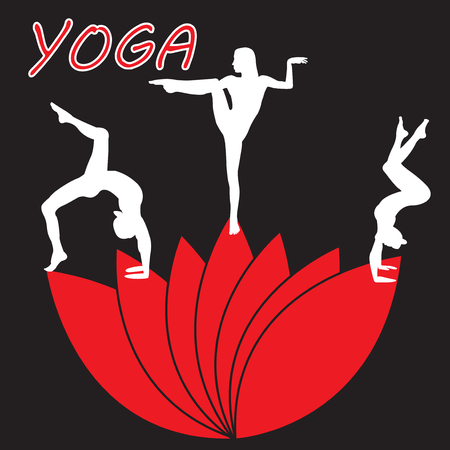Silhouette young woman practicing yoga Girl pilates on a red flower