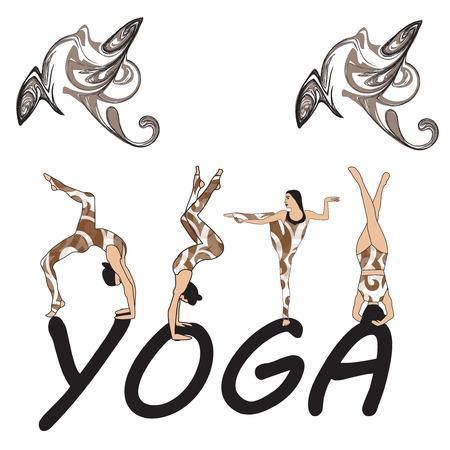 Young women practicing yoga Girl pilates vector illustration