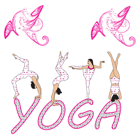 Silhouette young woman practicing yoga. Girl pilates. Vector on abstract background icon Foto de archivo - 100603664