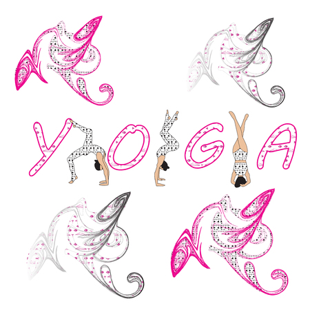 Silhouette young woman practicing yoga. Girl pilates. Vector on abstract background icon Foto de archivo - 100243328