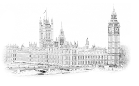 Big Ben, London, England, UK. Hand Drawn Illustration. Isolated on white background. Historical showplace for print, souvenirs, postcards, t-shirts, decoration, picture;