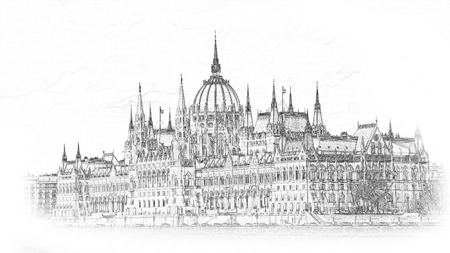 Hungarian parliament in Budapest. Illustration. Isolated on white background.