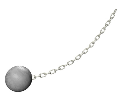 Wrecking ball with silver chain, 3d illustration. Isolated on white background. Stock Photo