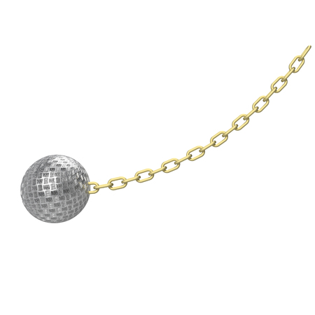 Wrecking ball with a silver chain, 3d illustration. Isolated on white background. Stock Photo