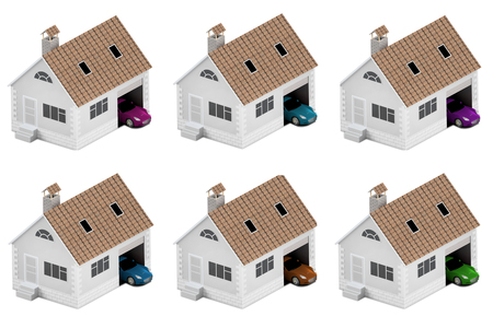 Set of houses with different cars. Insurance home, house, life, car protection. Buying house and car for family icon. 3D illustration. Icons for the web site of the bank. Isolated on white. Stock Illustration - 100129386