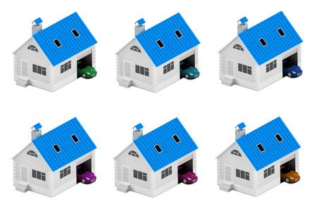 Set of houses with different cars. Insurance home, house, life, car protection. Buying house and car for family icon. 3D illustration. Icons for the web site of the bank. Isolated on white. Stock Photo