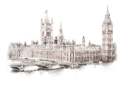 Big Ben, London, England, UK. Hand Drawn Illustration. Isolated on white background. Historical showplace for print, souvenirs, postcards, t-shirts, decoration, picture