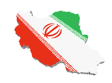 Detailed illustration of a map of Iran with flag, 3d illustration, isolated on white 写真素材