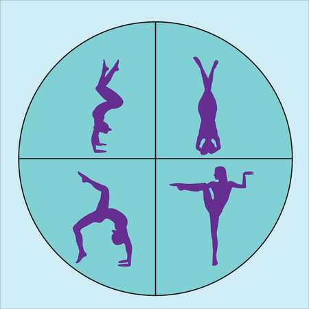 Silhouettes of woman doing yoga exercises. Icons of flexible girl stretching and relaxing her body in different yoga poses. Colorful shapes of a woman isolated on white background