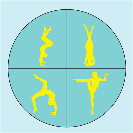 Silhouette young woman practicing yoga. Girl pilates. Set of Yoga Silhouette. Vector illustration Illustration