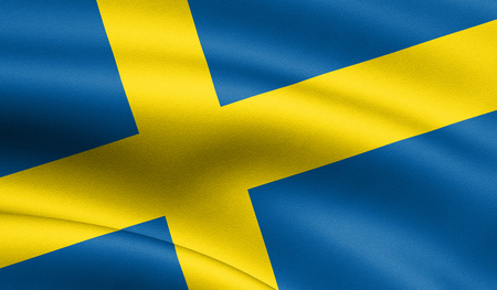 Sweden flag blowing in the wind. Background texture. 3d rendering, wave.