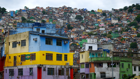 Aerial view of Rios Rocinha favela, on a sunny afternoon. Stock Photo