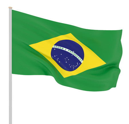 Brazil flag blowing in the wind. Background texture. 3d rendering, waving flag.