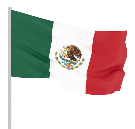 Mexico flag blowing in the wind. Background texture. 3d rendering, waving flag. - Illustration Stock Photo