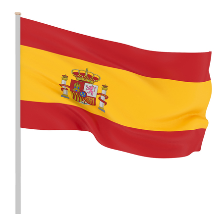 Spain flag blowing in the wind. Background texture. 3d rendering; wave. Isolated on white. Illustration.