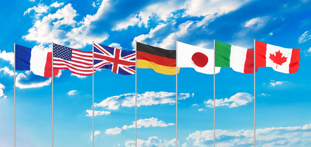 G7 flags Silk waving flags of countries of Group of Seven Canada Germany Italy France Japan USA states United Kingdom 2019. Isolated on white. 3D illustration. 免版税图像