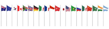 Agitant des drapeaux des pays membres du Groupe des Vingt. Grand G20 au Japon en 2020. Isolé sur blanc. rendu 3D. Illustration.