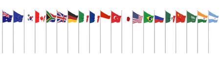 Waving flags countries of members Group of Twenty. Big G20 in Japan in 2020. Isolated on white. 3d rendering. Illustration.