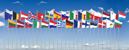 Silk waving 28 flags of countries of European Union. Blue sky background. 3D illustration.