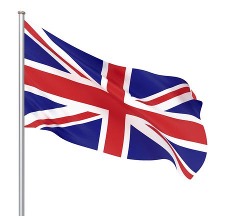 Sventolando la bandiera dello stato del Regno Unito. Illustrazione della bandiera del paese europeo sul pennone con i colori rosso e bianco. 3d icona isolato su sfondo bianco - Illustrazione