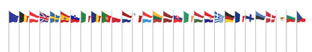 Silk waving 28 flags of countries of European Union. Isolated on white. 3D illustration. - Illustration
