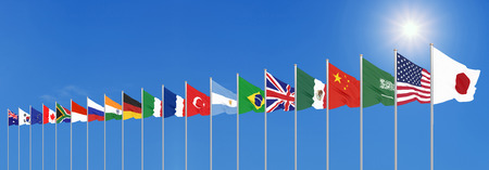 Waving flags countries of members Group of Twenty.  Blue sky background. 3d rendering.  Illustration.