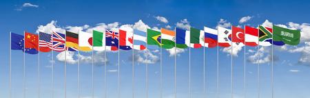 Waving flags countries of members Group of Twenty. Big G20 in Japan in 2020 . Blue sky background. 3d rendering.  Illustration.