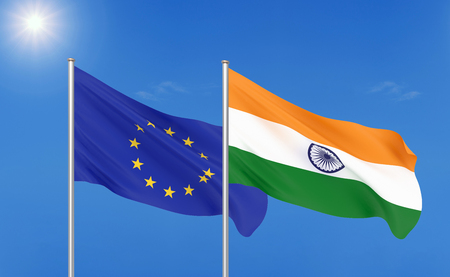European Union vs India. Thick colored silky flags of European Union and India 版權商用圖片
