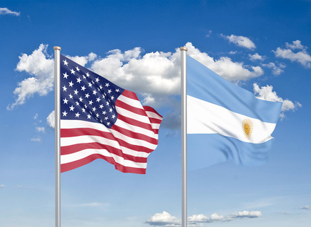 United States of America vs Argentina. Thick colored silky flags of America and Argentina. 3D illustration on sky background. - Illustration