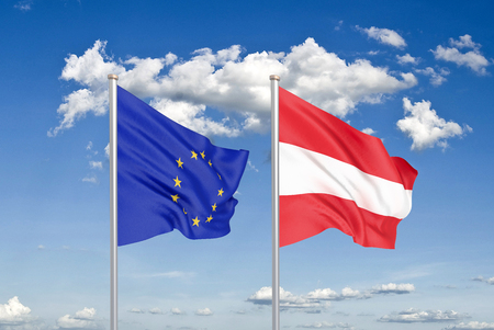 European Union vs Austria. Thick colored silky flags of European Union and Austria. 3D illustration on sky background. - Illustration