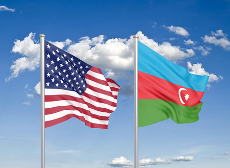 United States of America vs Azerbaijan. Thick colored silky flags of America and Azerbaijan. 3D illustration on sky background. - Illustration