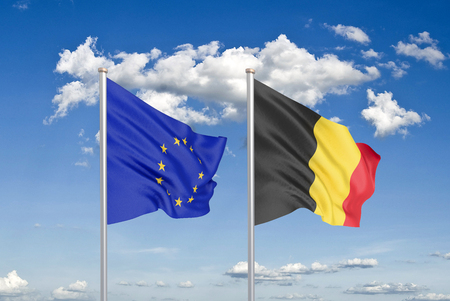 European Union vs Belgium. Thick colored silky flags of European Union and Belgium. 3D illustration on sky background. - Illustration Stock Photo